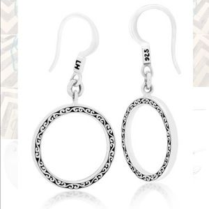 Lois Hill Sterling Silver Scroll Circle Earrings